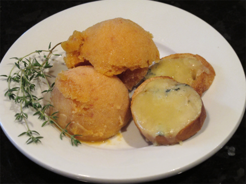"""Peach-Thyme Sorbet with Stilton Toasts"""